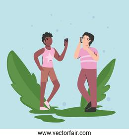 woman and man with smartphone and leaves vector design