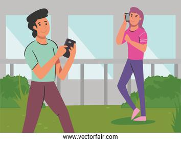 woman and man with smartphone in front of gray background vector design
