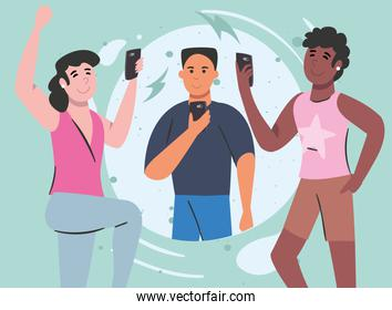 women and man with smartphone chatting vector design