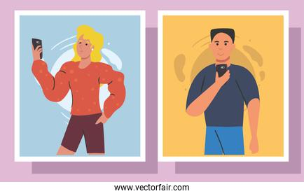 woman and man with smartphone in frames vector design