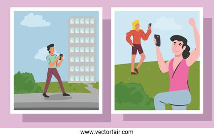 people with smartphone and building in frames vector design