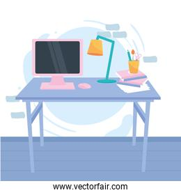 workplace with desk computer and pencils vector design