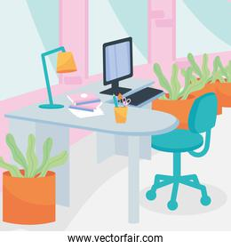 workplace with desk computer and plants vector design