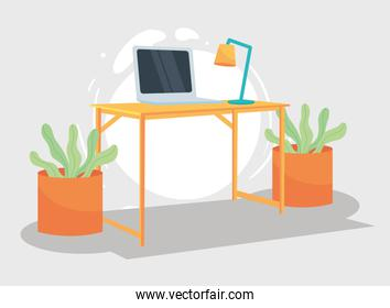 workplace with desk laptop plants and lamp vector design