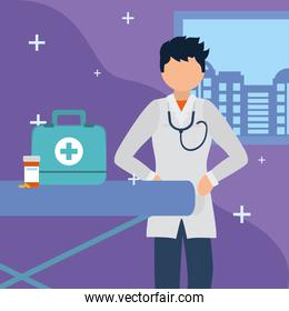 man doctor with medical kit vector design