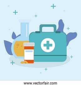 medical kit flask and pills jar vector design