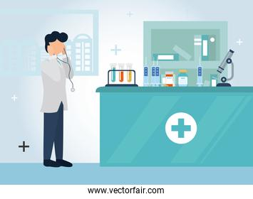 man doctor with icon set vector design