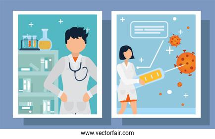 covid 19 virus vaccine set of icons in frames vector design
