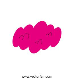 pink cloud shape isolated vector design