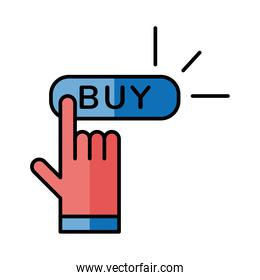Digital marketing and cursor with buy button vector design