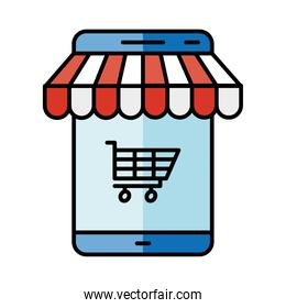 Digital marketing and smartphone with cart vector design