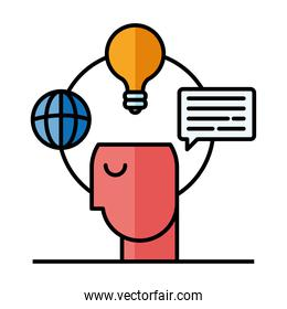 Digital marketing and head with icons vector design