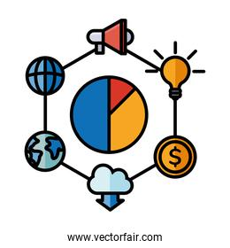 Digital marketing and pie chart with icons vector design