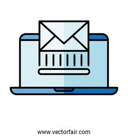 Digital marketing and laptop with envelope vector design