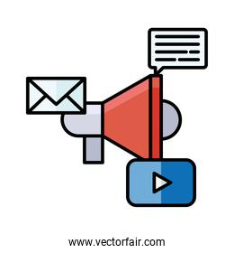 Digital marketing and megaphone with icons vector design