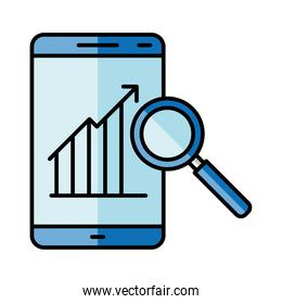 Digital marketing infographic in smartphone and lupe vector design