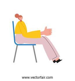 woman cartoon saying hello on chair vector design