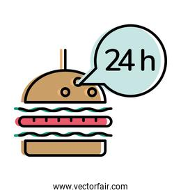 Food delivery hamburger with 24 hours bubble vector design