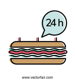 Food delivery sandwich with 24 hours bubble vector design