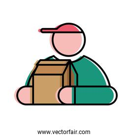 Food delivery man with box vector design