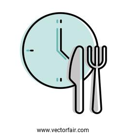 Food delivery cutlery and clock vector design