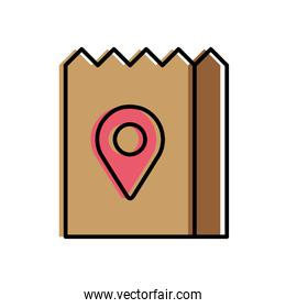 Food delivery bag with gps mark vector design