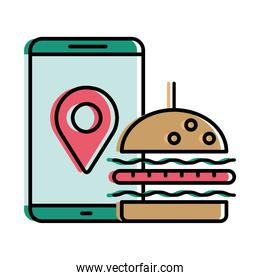 Food delivery hamburger and gps mark in smartphone vector design
