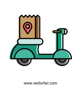 Food delivery bag with gps mark on motorcycle vector design