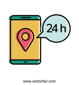 Delivery gps mark in smartphone with 24 hours bubble vector design