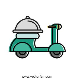 Food delivery platter on motorcycle vector design
