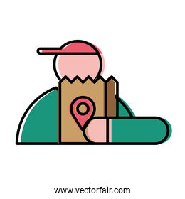 Food delivery man with bag vector design
