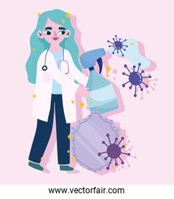covid 19 virus and woman doctor with alcohol spray and shield vector design