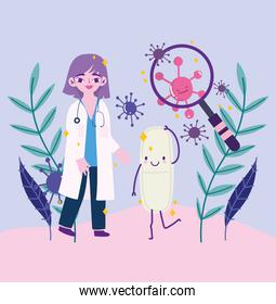 covid 19 virus and woman doctor with lupe and pill cartoon vector design