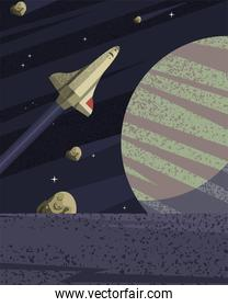 Space blue planet and rocket vector design