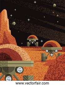 Space robots on planet vector design