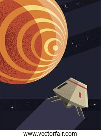 Space robot and mars planet vector design