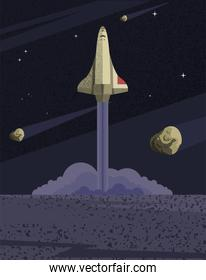 Space rocket and asteroids vector design