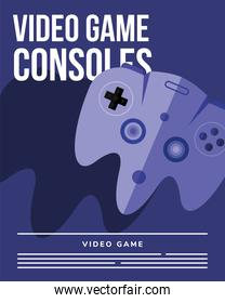 videogame consoles on purple background vector design