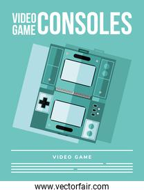 videogame consoles on green background vector design