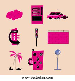 Urban and city pink icon set vector design