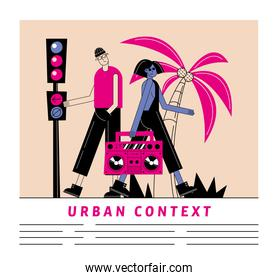 Urban and city woman and man cartoon with tape recorder vector design