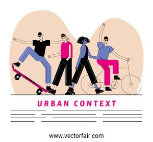 Urban and city people with skateboard and bike vector design