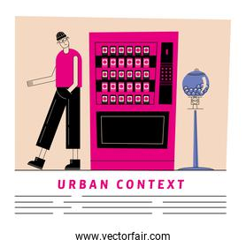 Urban and city man with sodas fridge and candies sphere vector design
