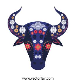 face of a bull with flowers over a white background