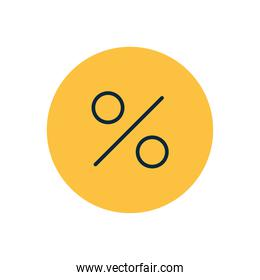 symbol of percentage on a yellow bubble