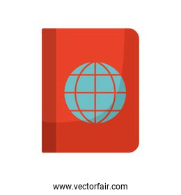 passport with one globe in it isolated icon