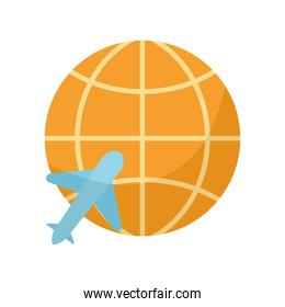 world with one airplane icon in it