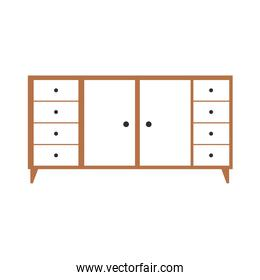 furniture with bundle of drawers on a white background