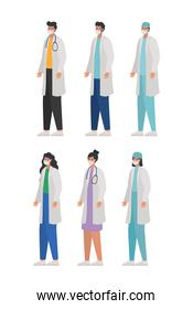 set of doctors icons on a white background