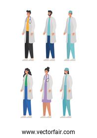 bundle of doctors icons on a white background